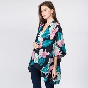 Tops - Women's tropical kimono cardigan